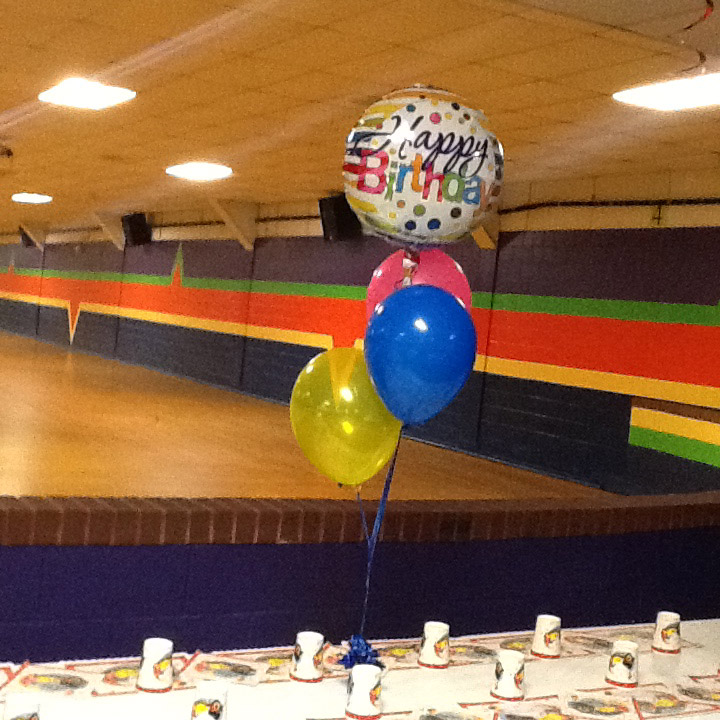 ballons in a skating rink